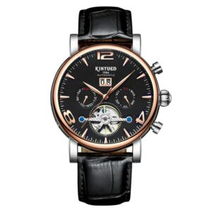 KINYUED in stock Tourbillon movement Genuine Leather waterproof mechanical watches in wristwatches